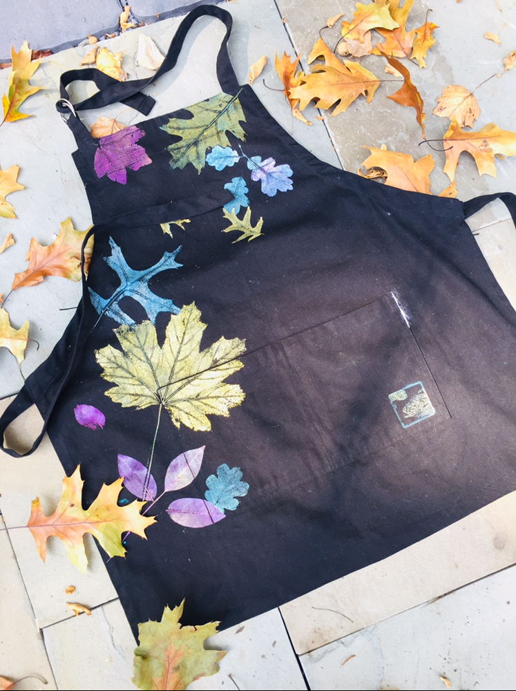 hand printed apron with real leaves